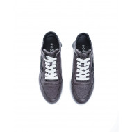 """I-Cube"" Leather low-top sneakers with glitter"