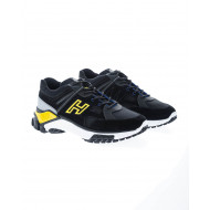 """""""New Trekking"""" Split leather and nylon sneakers with slide lacing"""