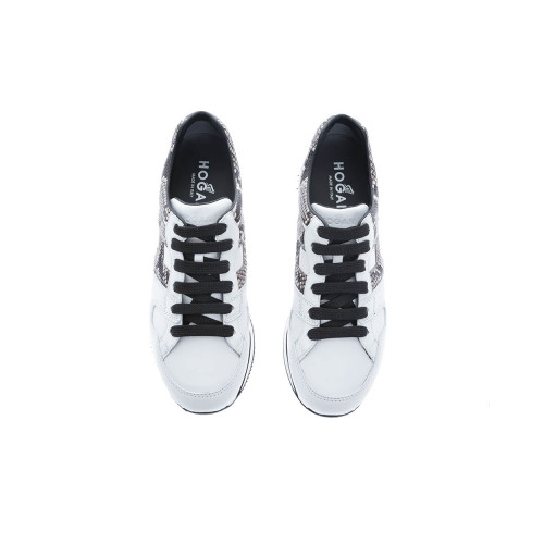 """222"" Leather sneakers with details in python print"