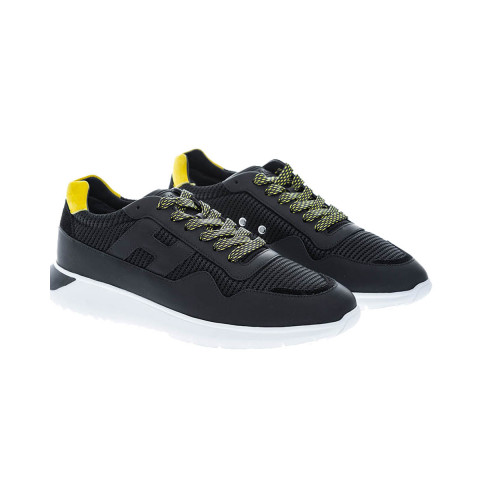 """I Cube"" black bi-material sneakers with yellow buttress"