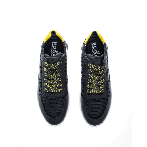 Achat I Cube black bi-material sneakers with yellow buttress - Jacques-loup