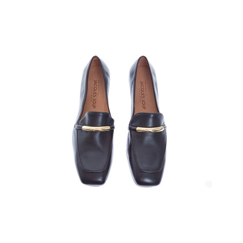 Leather moccasins with gold metal clip