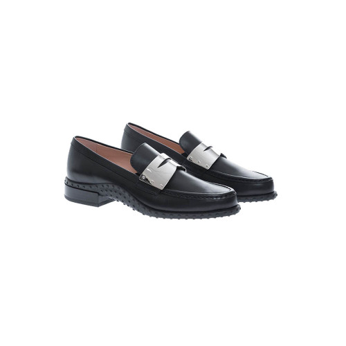 Achat Black patina calf leather moccasin with metal plate detail - Jacques-loup