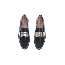 Black patina calf leather moccasin with metal plate detail