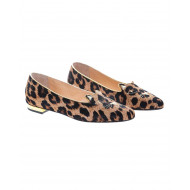 Achat Leopard-printed calf ballerinas with embroidery Little Cat - Jacques-loup