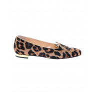 Leopard-printed calf ballerinas with embroidery Little Cat