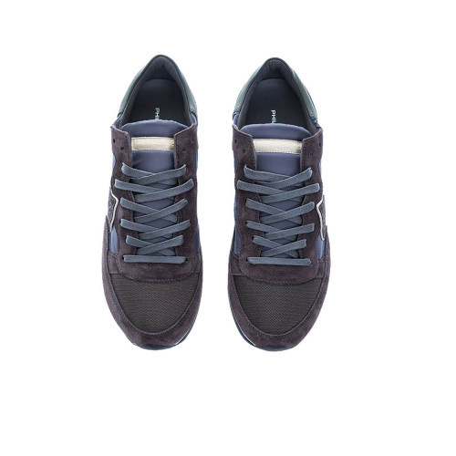 """Tropez Lu"" Split leather sneakers escutcheon white border"