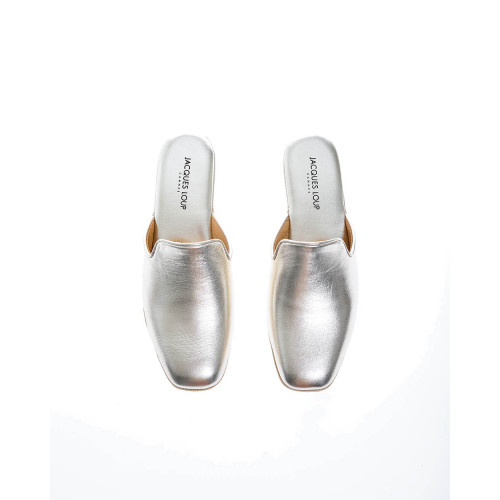 Metallic leather indoor mules with closed toe 30