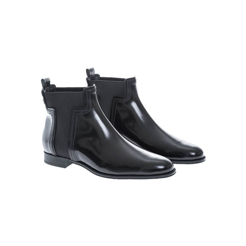 Achat Gomma Tronchetto shiny calf leather boots with T elastic sided - Jacques-loup