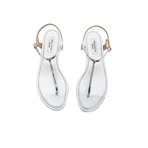 Silver colored thong sandals Aquazurra for women
