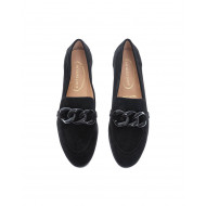 Suede moccasins with bakelite links