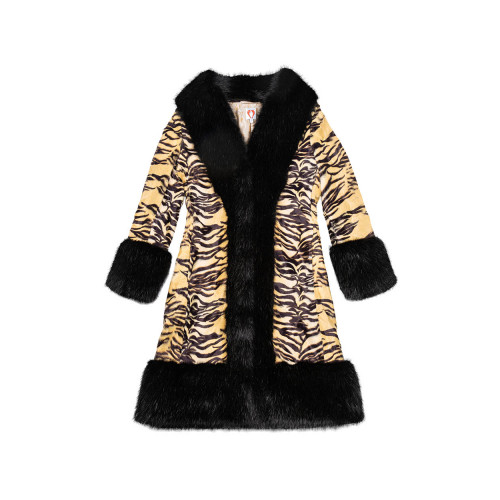 Black coat with tiger print Shrimps for women