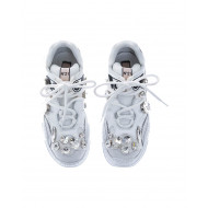"""Billy"" calf leather sneakers with crystal-embellished and oversized outer sole"