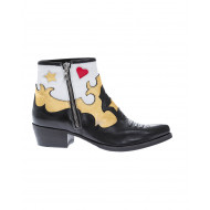 Leather boots in Westerns style with multicolored motifs 3à