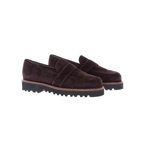 Suede moccasins with decorative tab