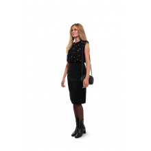 Black pencil skirt with split opening