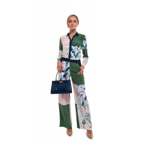 Large silk trousers patchwork