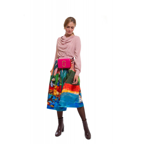 Pleated skirt with Gauguin print