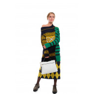 Asymmetrical sweater dress multicolored prints