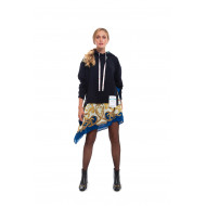 Cotton sweatshirt with printed scarf