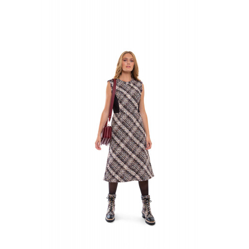 Sleeveless tweed dress with stretch yokes