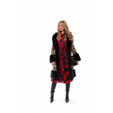 """Vivien"" Coat with fake fur and tiger print"