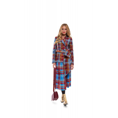 Jacket with tartan print and decorative knot