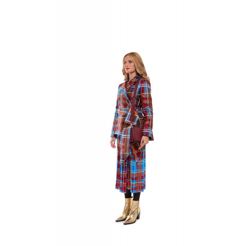Wrap-around pleated skirt with tartan print