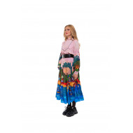 """Dress with """"Gauguin"""" print and high collar"""