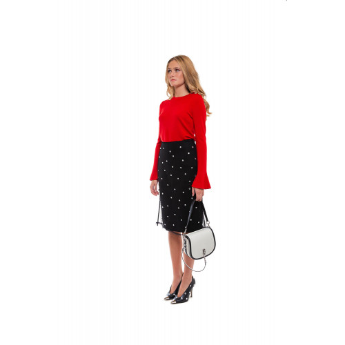 Merino wool jumper with flared sleeves and decorative stones