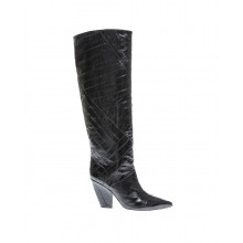 Leather boots with pointed toe decorated with gold metal 90