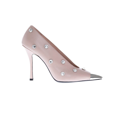 Achat Leather pumps with crystal-embellished and silver-tone metal toe-cap 100 - Jacques-loup