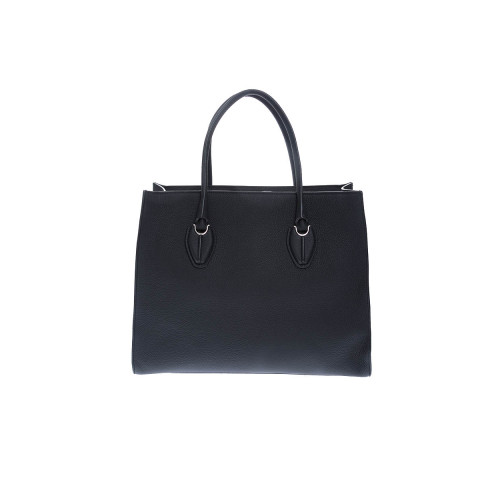 Achat Shopping leather bag with twho handles and silver-tone metal details - Jacques-loup