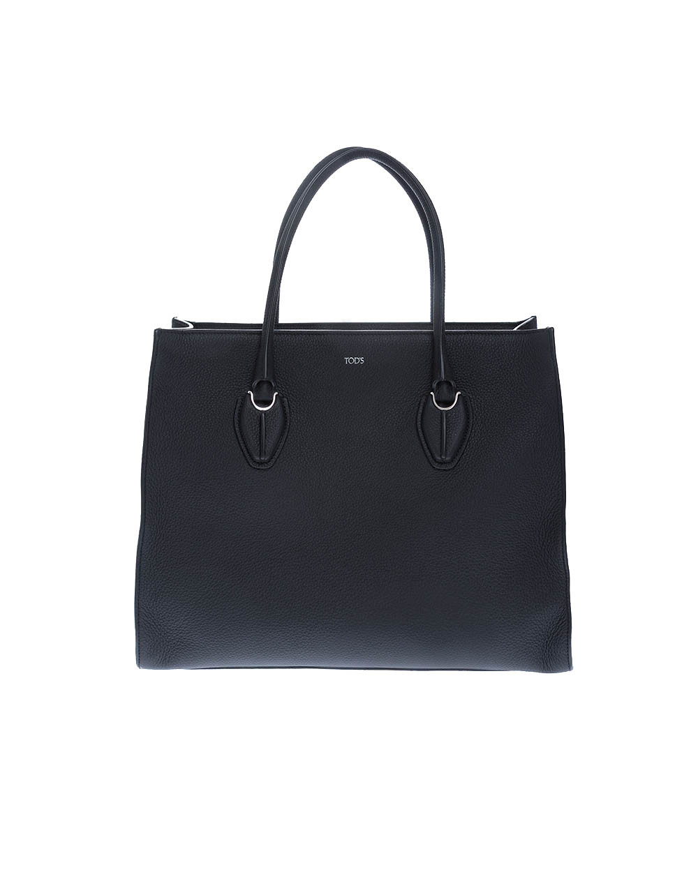 """Shopping"" leather bag with twho handles and silver-tone metal details"