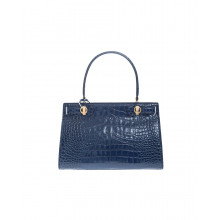 """Lee Radziwil"" Leather bag crocodile print"