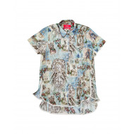 Achat Aliacmone blue short sleeved shirt cotton and silk - Jacques-loup