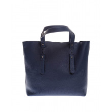 Grained leather shopping bag with handles
