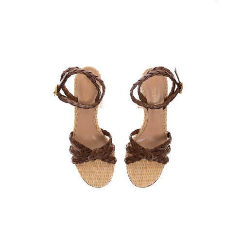 Achat Bee Knotted and woven nappa leather sandals 85mm - Jacques-loup