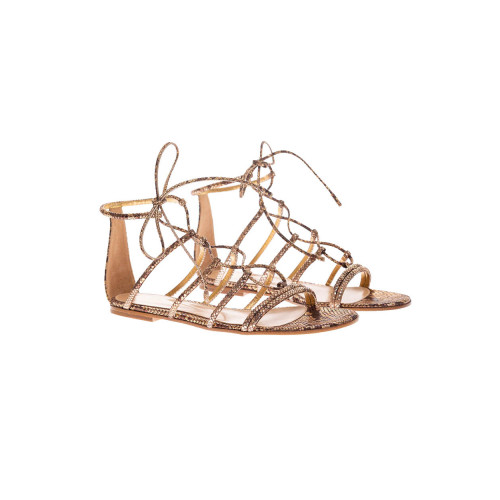 Achat Flat suede sandals with lashes and python print - Jacques-loup