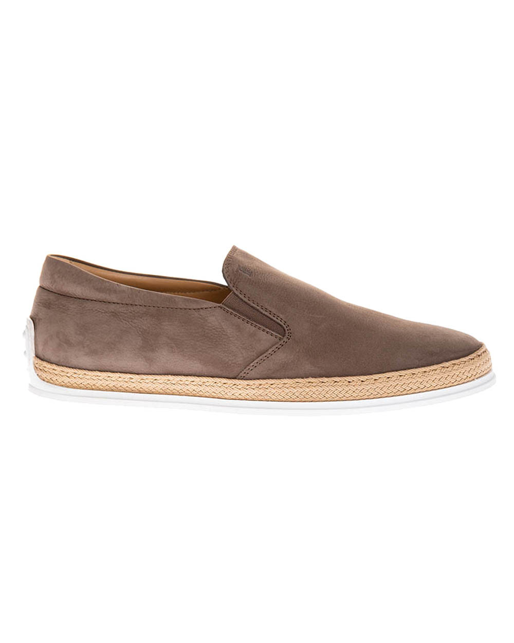 """Pantofola"" Nubuck leather slip-ons with weaving and elastic"