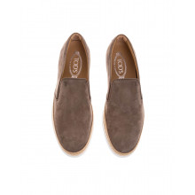 """""""Pantofola"""" Nubuck leather slip-ons with weaving and elastic"""