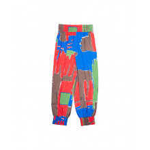 Silk trousers with colorful square print