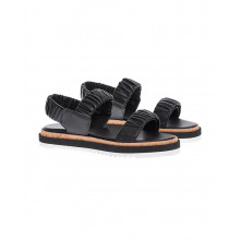 Black leather sandals with elastic bands