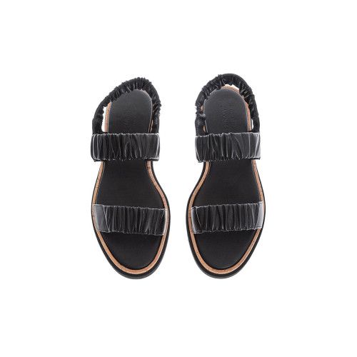 Achat Black leather sandals with elastic bands - Jacques-loup