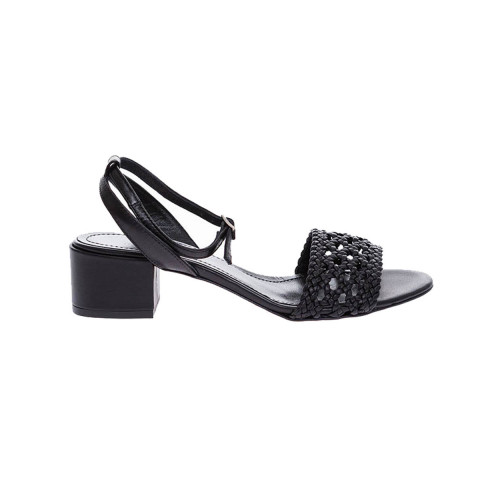 Achat Nappa black colored leather sandals with braided strap - Jacques-loup
