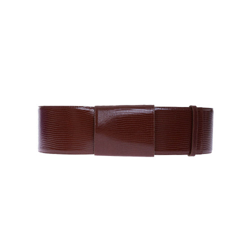Achat Leather belt with lizard print 8 cm large - Jacques-loup