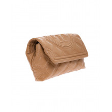 Nappa leather quilted clutch bag with flap