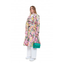 Oversized trench with impressionist floral design