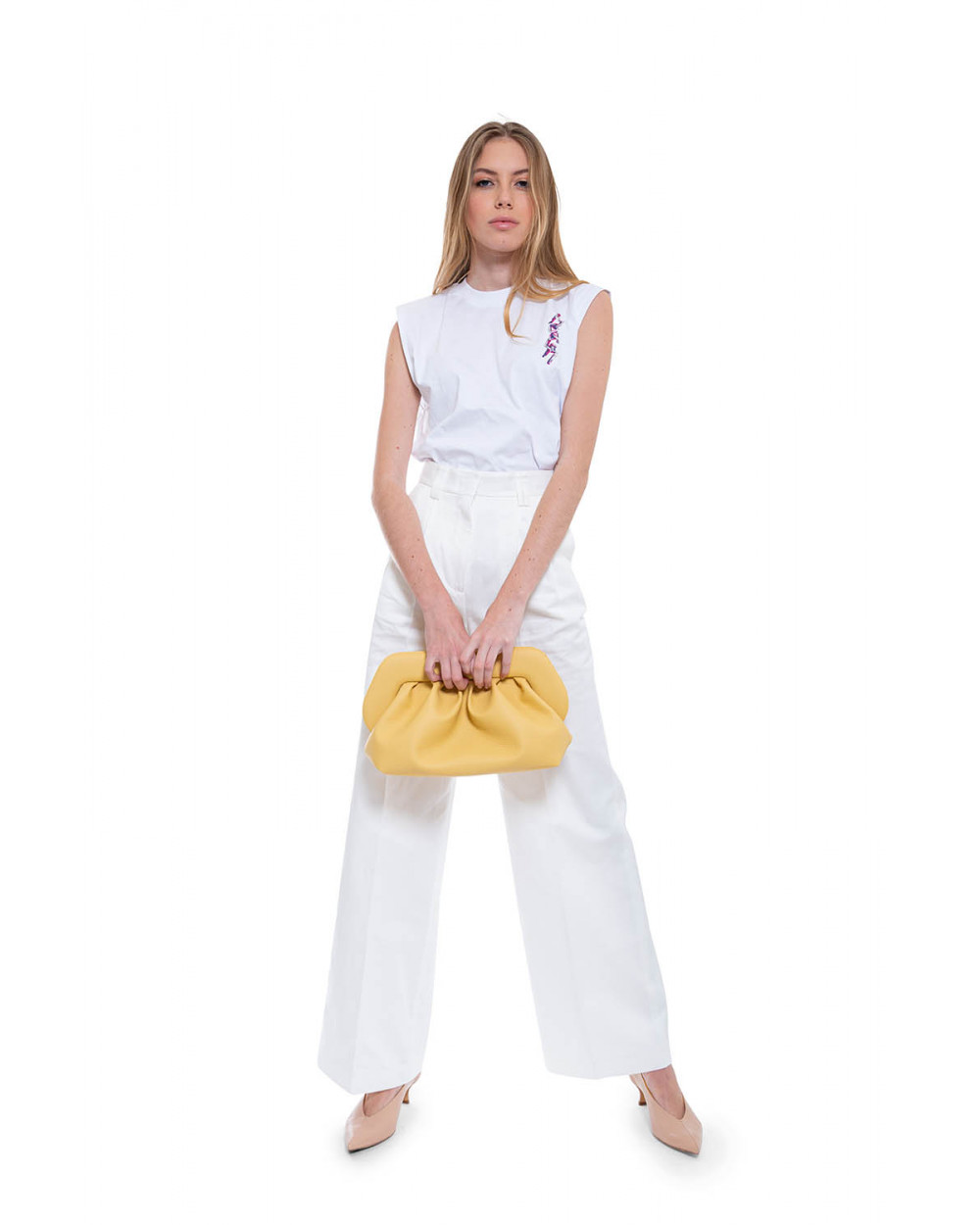 Cotton and linen high waisted trousers