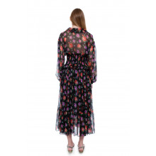 Chiffon dress with smock at the waist and floral print